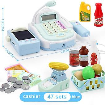 Children Simulation Cash Register Calculator Cashier With Microphone And Sounds Pretend Play Toys