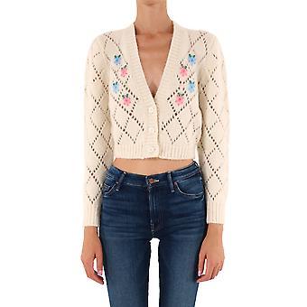 Alessandra Rich Fab2240k2597811 Women's White Wool Cardigan