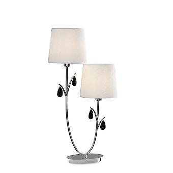 Inspired Mantra - Andrea - Table Lamp 63cm, 2 x E14 (Max 20W), Polished Chrome, White Shades, Black Crystal Droplets