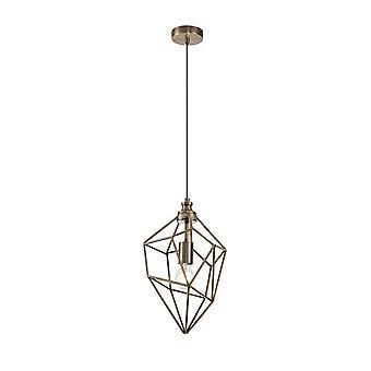 Éclairage Luminosa - Pendentif à plafond à cage moyenne, 1 x E27, Laiton antique