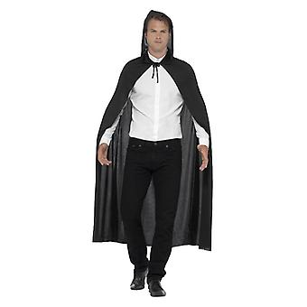 Adults Black Hooded Vampire Cape Halloween Fancy Dress Accessory
