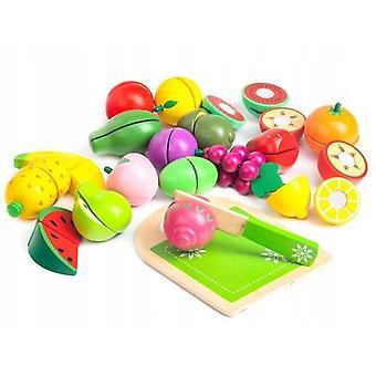 Blocchi di frutta in legno 18 pezzi multicolore con tagliere
