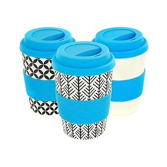 Reusable Coffee Cups - Bamboo Fibre Travel Mugs with Silicone Lid, Sleeve - 350ml (12oz) - 3 Patterns - Blue - x6