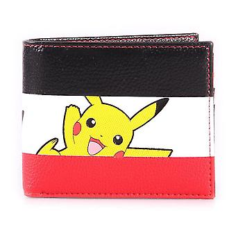 Pokemon Pikachu Striped Tri-colour All-Over Print Bi-fold Wallet Male