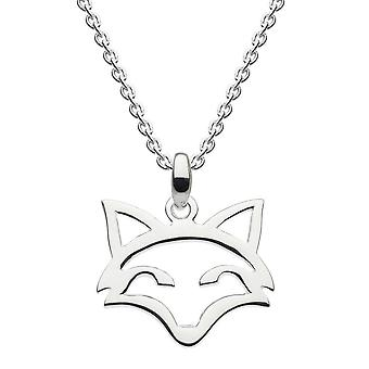 Dew Sterling Silver Stay Clever Fox Head Outline Pendant 9033HP024