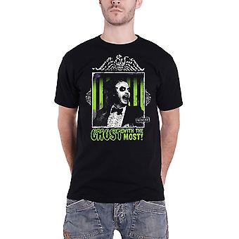 Beetlejuice T Shirt Ghost With The Most Movie Logo nouveau noir officiel pour hommes