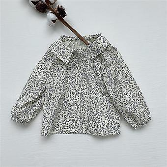 Long Sleeve Open Stitch Ruffle Pattern-printed Shirt For Baby