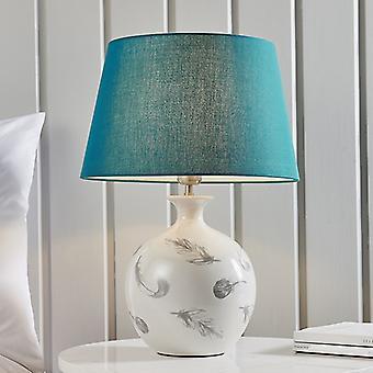 Table Lamp Light Grey Crackle Glaze & Green Cotton 1 Light IP20 - E27