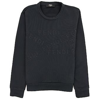 Fendi Brand Tape Crewneck Sweatshirt Black