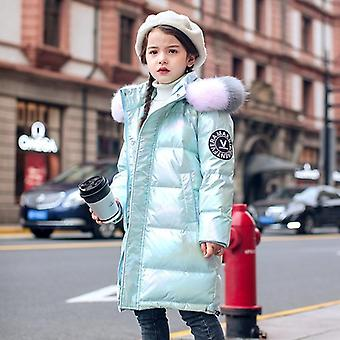 -30 Russian Winter Clothing Waterproof Real Fur Hooded Down Coat Jacket For Girl Teenager