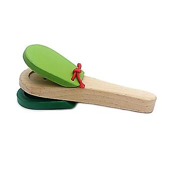 Wooden Musical Instrument Castanet Clapper Handle Instrument Toy For Toddlers,