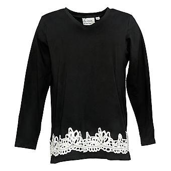 Linea por Louis Dell'Olio Women's Top V-Neck W/ Lace Applique Black A347498