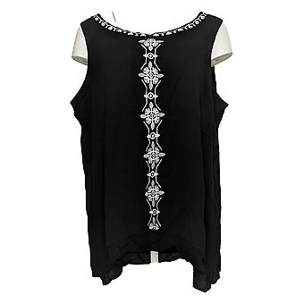 Curations Women's Plus Top Floral Embroidered Gauze Tank Black 653-743