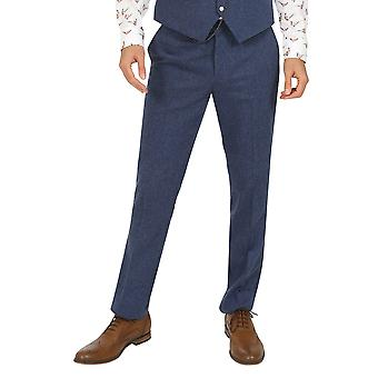Jenson Samuel Lincoln Blue Herringbone Check Trousers