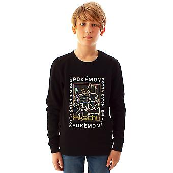 Pokemon Jumper Pikachu Mewtwo Lenticular Boy's Black Kids Gamer Sweatshirt
