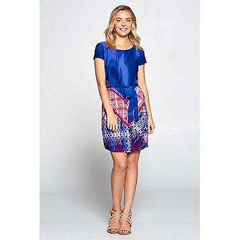 Boho Abstract Print Dress With Waist Tie