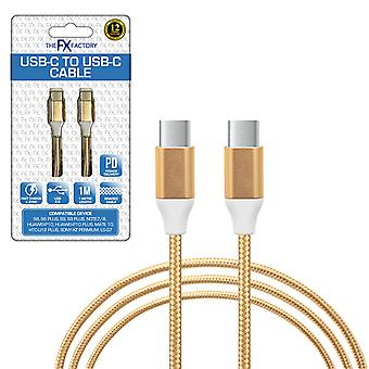 FX Braided USB-C to USB-C Data Cable 1m - Gold