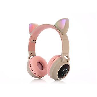 Fone de ouvido Bluetooth Bluetooth gato bonito, música sem fio estéreo baixo, fones de ouvido Led Light,