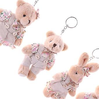 Floral Cloth Dolls Key Bag Hangers Paar Bear Konijn Pluche Sleutelhanger