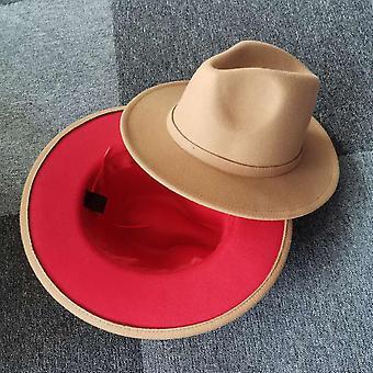 Nowy Unisex Camel Patchwork Felt Jazz Hat Cap Mężczyźni Kobiety Flat Brim Wool Blend