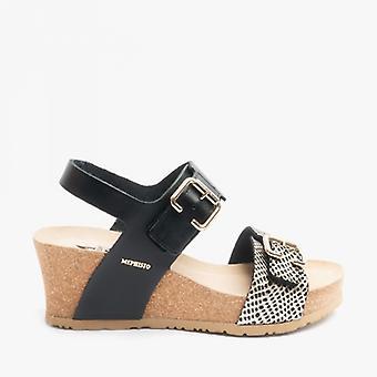 Mephisto Lissandra Ladies Leather Wedge Sandals Black/cuba