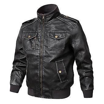 Hommes Genuine Leather Jackets Motorcycle Stand Collar Zipper Pocket Coats