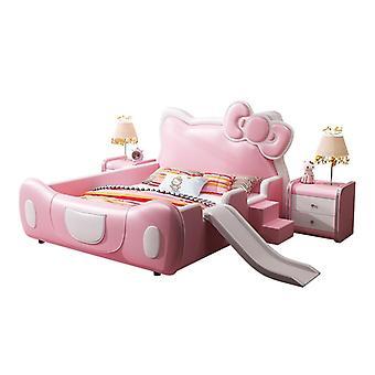 Cat Crib Girl Princess Fantasy Castle met Safe Guardrail Cartoon Roze Glijbaan