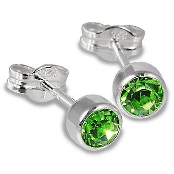 Sterling Silver Cubic Zirconia Unisex Stud Earrings 2 Carat - Light Green
