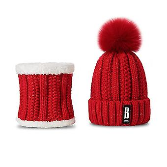 Fashion Winter Hat And Scarf Set, Thicken Warm Beanies Hats Pompoms Ring Scarf