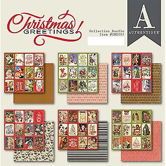 Authentique Christmas Greetings 6x6 Pulgadas Paper Pad