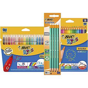Bic evolution original with eraser graphite pencils, bic kids kid couleur felt pens, bic kids evolut