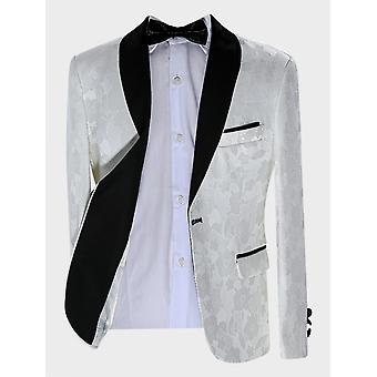 Boys Tailored fit Floral Patterned Ivory Tuxedo Suit