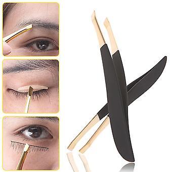 Golden Head Slanted Stainless Steel Eyebrows Tweezer