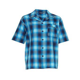 Cyberjammies Elliot 6559 Hombres's Navy Blue Check Pyjama Top