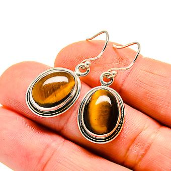 "Tiger Eye Earrings 1 3/8"" (925 Sterling Silver)  - Handmade Boho Vintage Jewelry EARR411098"