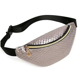 Pu Leather Laser Zipper Waist Pouch, Waterproof Sports Running Belt Bag