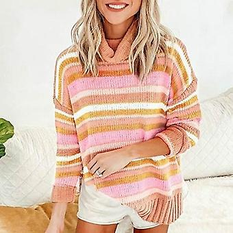 Stripe Turtleneck Slit Pullovers Jumpers Sweater