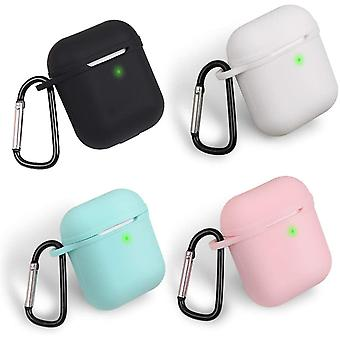 Pouzdro AirPods s klipem D Shape kompatibilním s Apple AirPods 2&1 Black, White, Pink a Mint Green
