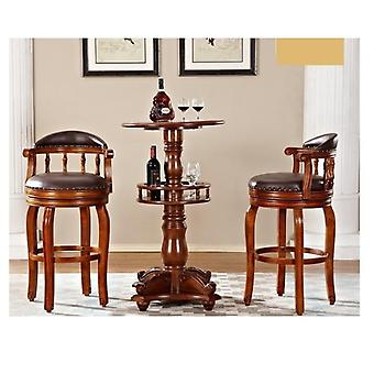 Wood Furniture Table And Leather Bar Chairs  (full Set)