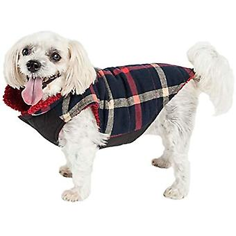Pet Life 'Allegiance' Classical Plaided Insulated Dog Coat Jacket, Plaid blu e rosso - Large