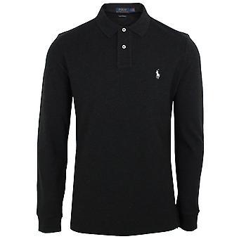 Ralph lauren men's long sleeve black heather polo shirt