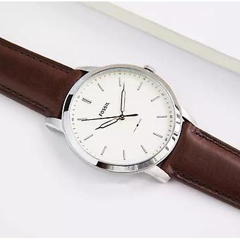 Relógio de quartzo analógico fóssil masculino com couro FS5439