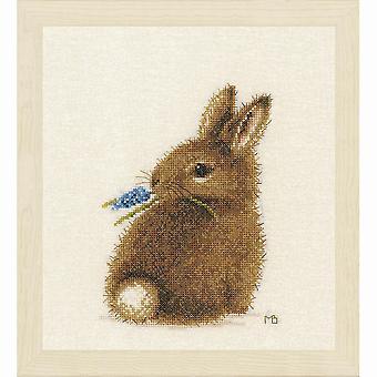 Kit de puntada de cruz contada lanarte: Conejo (Evenweave)