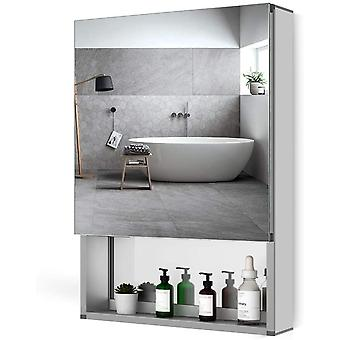 Bathroom Mirror Storage Cabinet Wall Mounted Sliver Hollow Out Style For Make Up Cosmatic 500 * 700