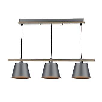 DAR ARKEN Straight Bar Hanglamp Raw, Hout, 3x E14