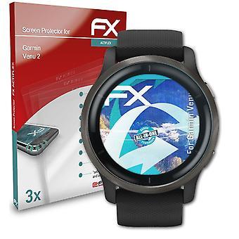 ガーミン Venu 2 スクリーン プロテクタークリア&フレキシブルと互換性のある atFoliX 3x 保護フィルム