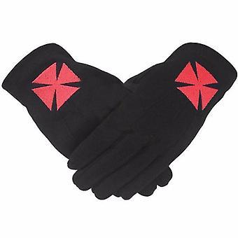 Masonic knight templar black 100% cotton machine embroidery glove
