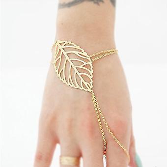 Guldfärg ihåliga blad armband med fingerring handkedja