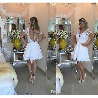 A-line V-neck Cap Rękawy Koronki z zastoju Krótkie Mini Eleganckie suknie koktajlowe ( Zestaw