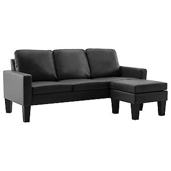vidaXL 3-Sitzer-Sofa mit Hocker Schwarz Kunstleder